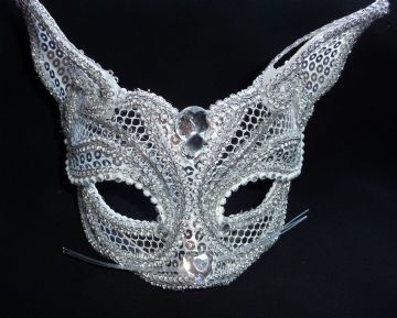 Petite Silver Cat mask (glasses arms or ribbon fitting) (a)